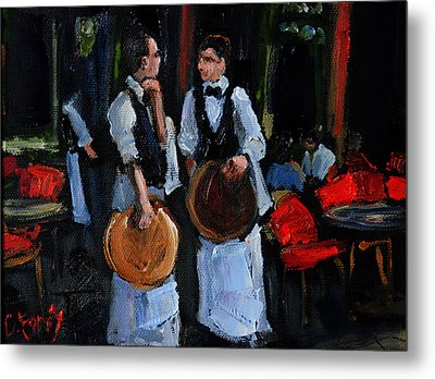 Cafe Philosophers Metal Print by Carole Foret