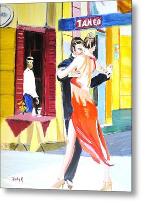 Metal Print featuring the painting Cafe Tango by Judy Kay
