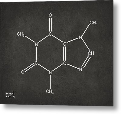 Caffeine Molecular Structure Gray Metal Print by Nikki Marie Smith