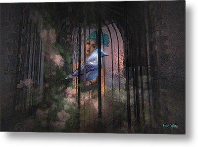 Metal Print featuring the digital art Caged Bird by Kylie Sabra