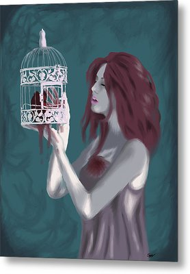 Caged Heart Metal Print by Stacy Parker