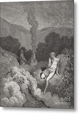 Cain And Abel Offering Their Sacrifices Metal Print by Gustave Dore