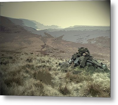 Cairn Near Westend Moss, Boggy Path Leading Off The Moor Metal Print