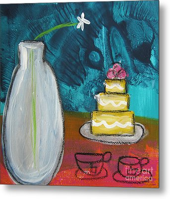 Cake And Tea For Two Metal Print by Linda Woods