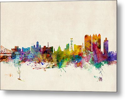 Calcutta India Skyline Metal Print by Michael Tompsett