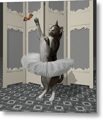 Calico Ballet Cat On Paw-te Metal Print by Andre Price