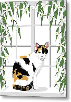 Calico Cat And Clematis Metal Print by Artellus Artworks