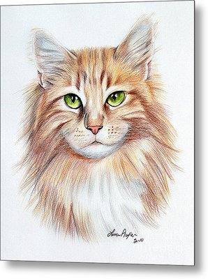 Calico Cat Metal Print by Lena Auxier