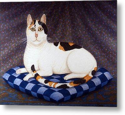 Calico Cat Portrait Metal Print by Linda Mears