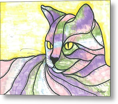 Metal Print featuring the painting Calico Cat by Susie Weber