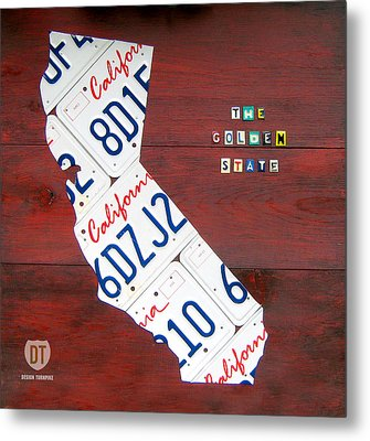 California License Plate Map Metal Print by Design Turnpike