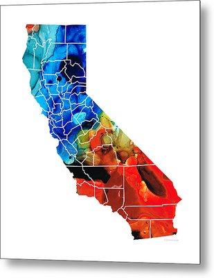 California - Map Counties By Sharon Cummings Metal Print by Sharon Cummings