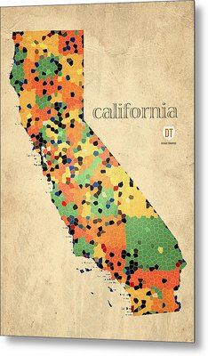 California Map Crystalized Counties On Worn Canvas By Design Turnpike Metal Print