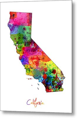 California Map Metal Print by Michael Tompsett