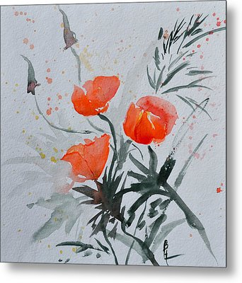 California Poppies Sumi-e Metal Print by Beverley Harper Tinsley
