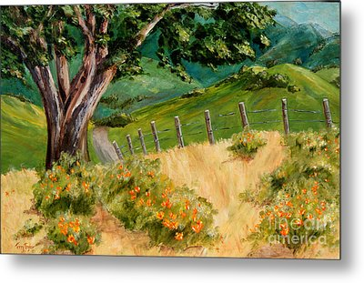 Metal Print featuring the painting California Poppies by Terry Taylor