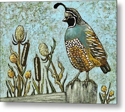 Metal Print featuring the painting California Quail by VLee Watson