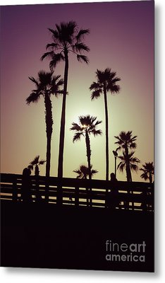 California Sunset Picture With Palm Trees Metal Print by Paul Velgos