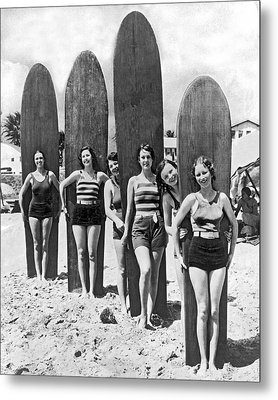 California Surfer Girls Metal Print by Underwood Archives