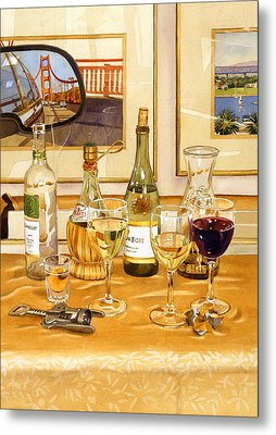 California Wine And Watercolors Metal Print by Mary Helmreich