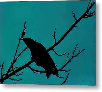 Call Of The Crow Silhouette On Blues 2 Metal Print by Lesa Fine