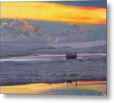 Metal Print featuring the mixed media Callanish Croft by Carla Woody