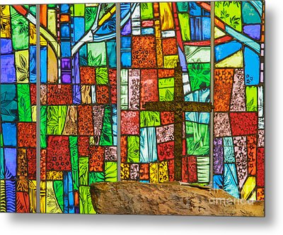 Callaway Gardens Chapel Alter Stone And Stained Glass Window Metal Print by John Roberts