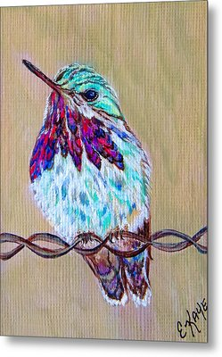 Metal Print featuring the painting Calliope On The Fence by Ella Kaye Dickey
