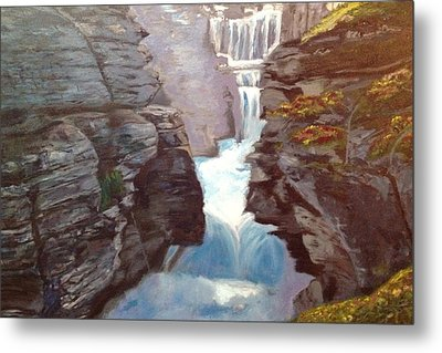 Metal Print featuring the painting Calm Amidst Turbulence by Belinda Low