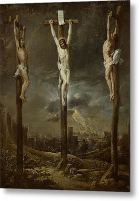 Calvary Oil On Card Metal Print by David the Younger Teniers
