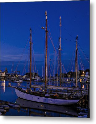 Camden Harbor Maine At 4am Metal Print by Marty Saccone