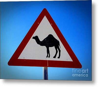 Metal Print featuring the photograph Camel Warning Road Sign by Henry Kowalski