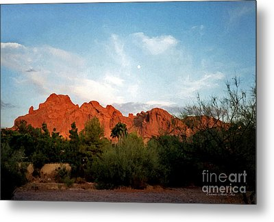 Camelback Mountain And Moon Metal Print by Connie Fox