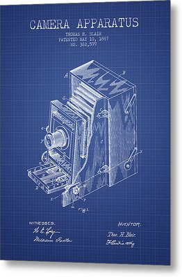 Camera Apparatus Patent From 1887 - Blueprint Metal Print by Aged Pixel