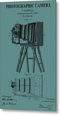 Camera Patent On Canvas Metal Print by Dan Sproul