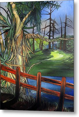 Metal Print featuring the painting Camino Real Park by Mary Ellen Frazee