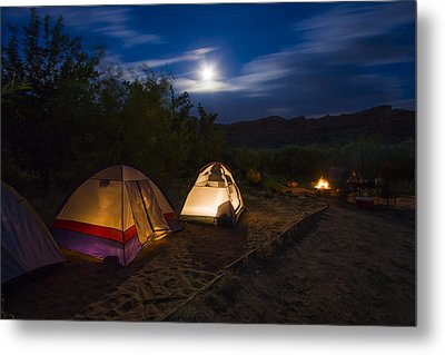 Campfire And Moonlight Metal Print by Adam Romanowicz
