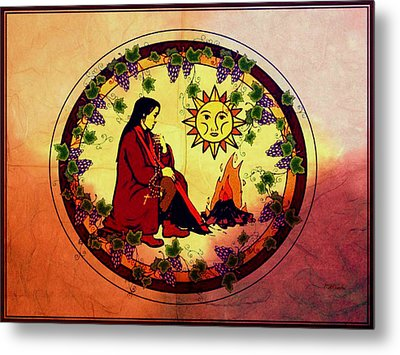 Metal Print featuring the digital art Campfire At Sunset by Mary Anne Ritchie