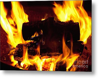 Campfire Burning Metal Print