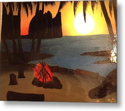 Metal Print featuring the painting Campfire by Michael Rucker
