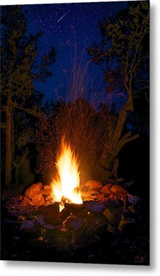 Campfire Under The Stars Metal Print