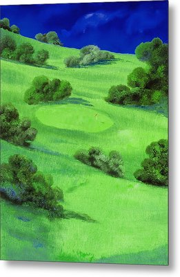 Campo Da Golf Di Notte Metal Print by Guido Borelli