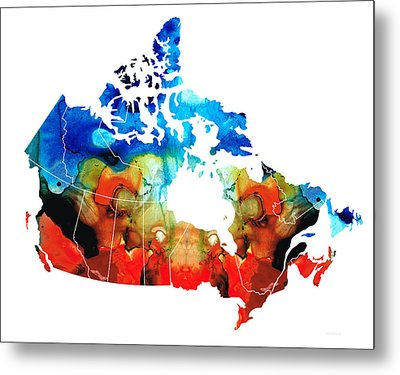 Canada - Canadian Map By Sharon Cummings Metal Print by Sharon Cummings
