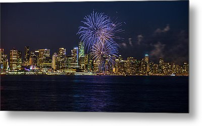 Canada Day Fireworks In Vancouver Metal Print