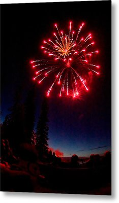 Metal Print featuring the photograph Canada Day Fireworks by Trever Miller