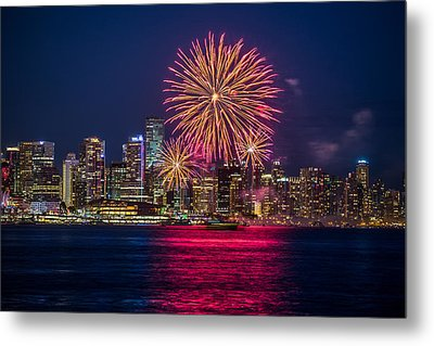 Canada Day Fireworks Vancouver  Metal Print by Pierre Leclerc Photography