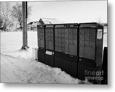 canada post post mailboxes in rural small town Forget Saskatchewan Canada Metal Print by Joe Fox