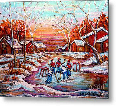 Canadian Art Pond Hockey Winter Near The Village Landscape Scenes Carole Spandau Metal Print by Carole Spandau