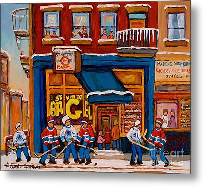 Canadian  Artists Paint Hockey And Montreal Streetscenes Over 500 Prints Available  Metal Print by Carole Spandau