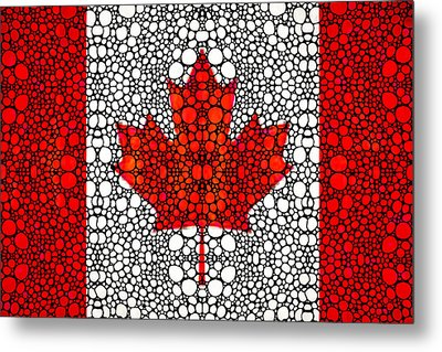 Canadian Flag - Canada Stone Rock'd Art By Sharon Cummings Metal Print by Sharon Cummings